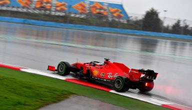 2020 Turkish GP Vettel Ferrari intermediates Photo Ferrari F1 Twitter