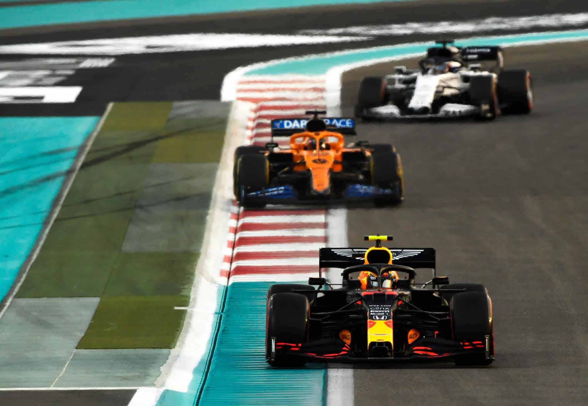 2020 Abu Dhabi GP Albon leads Sainz and Gasly Photo Red Bull