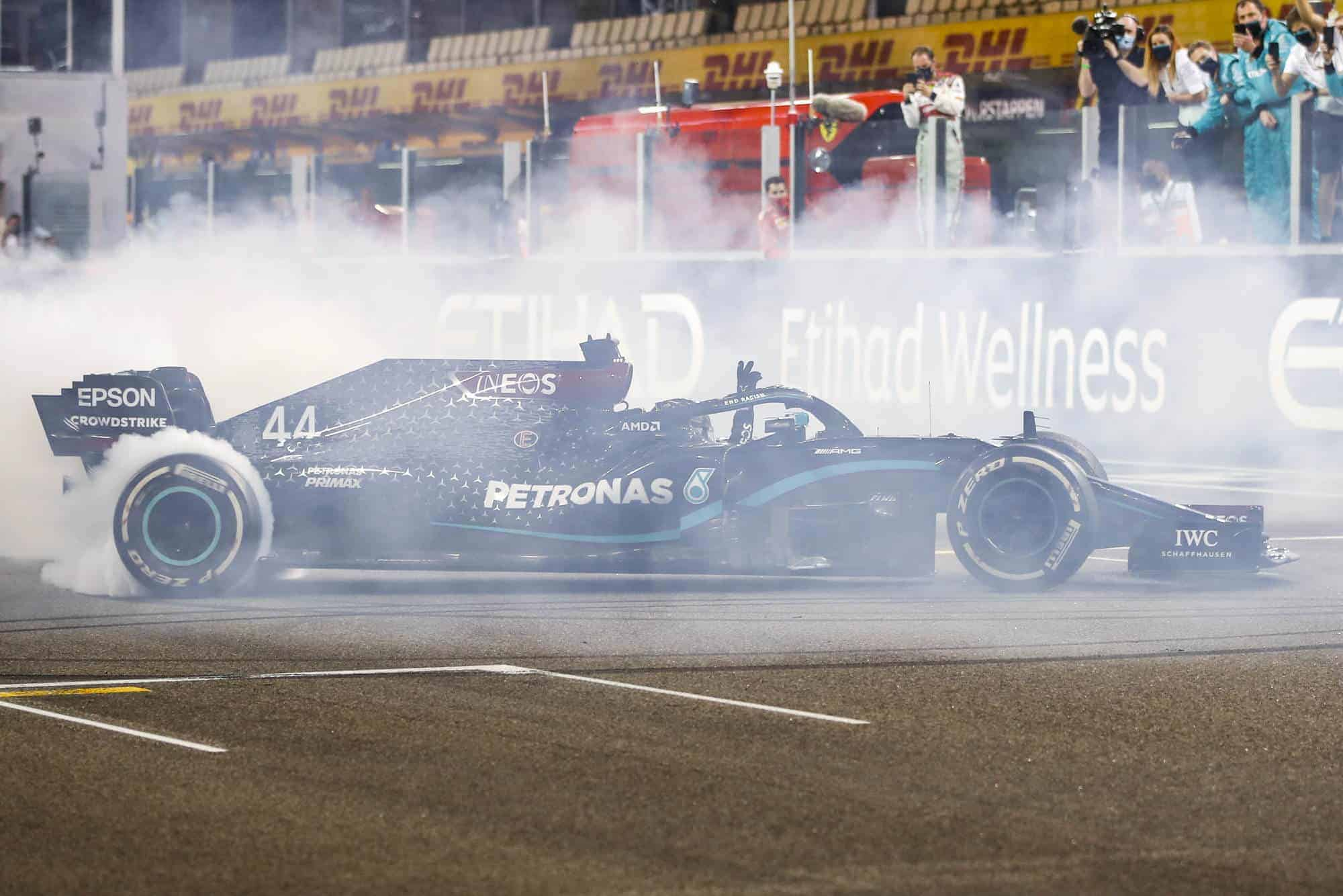 2020 Abu Dhabi GP Hamilton Mercedes hard Pirelli after the race donuts Photo Daimler