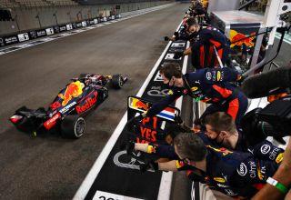 2020 Abu Dhabi GP Verstappen wins crosses the finish line Photo Red Bull