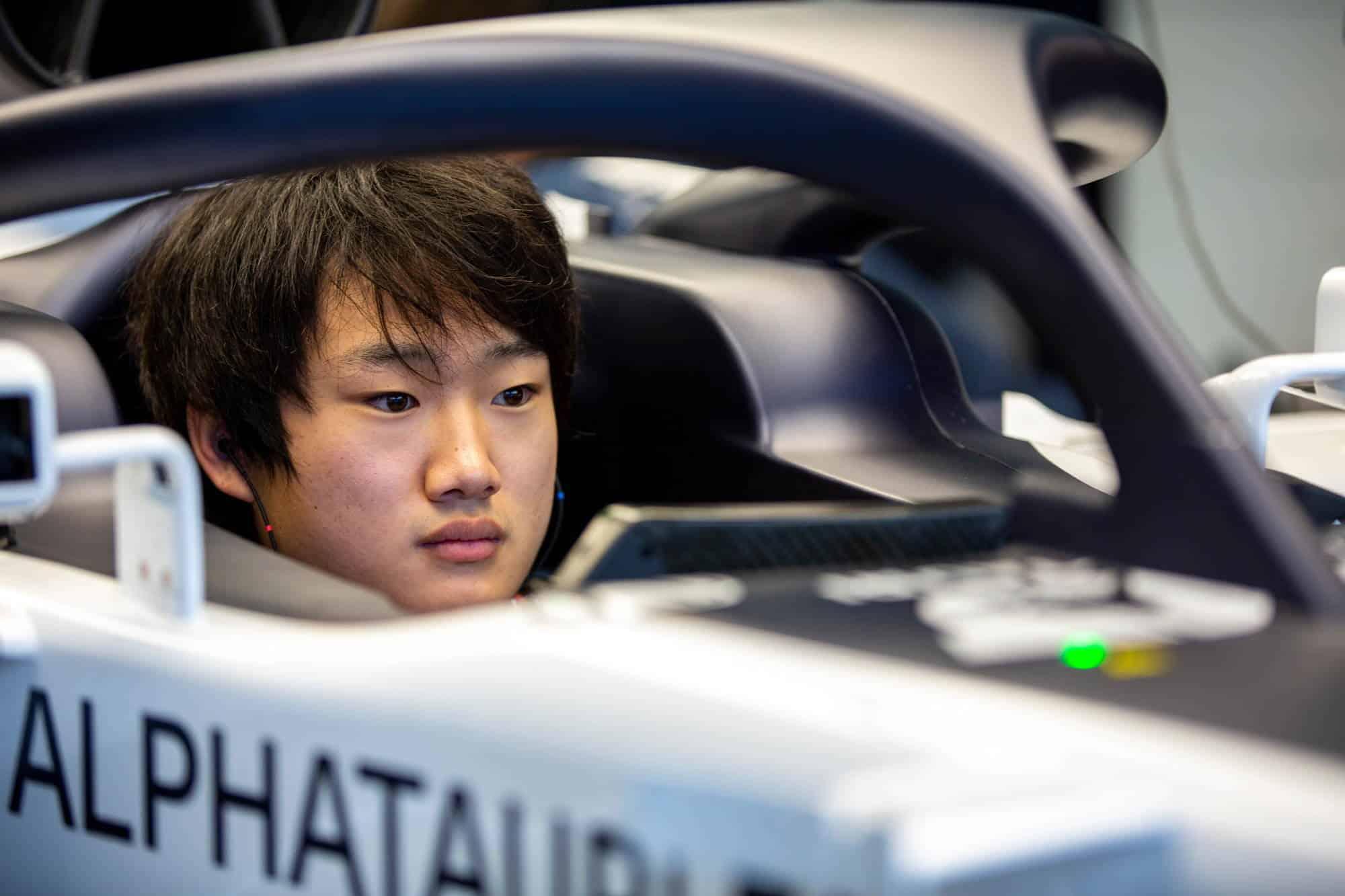 2020 Abu Dhabi GP post race test Yuki Tsunoda AlphaTauri in the car Photo Red Bull