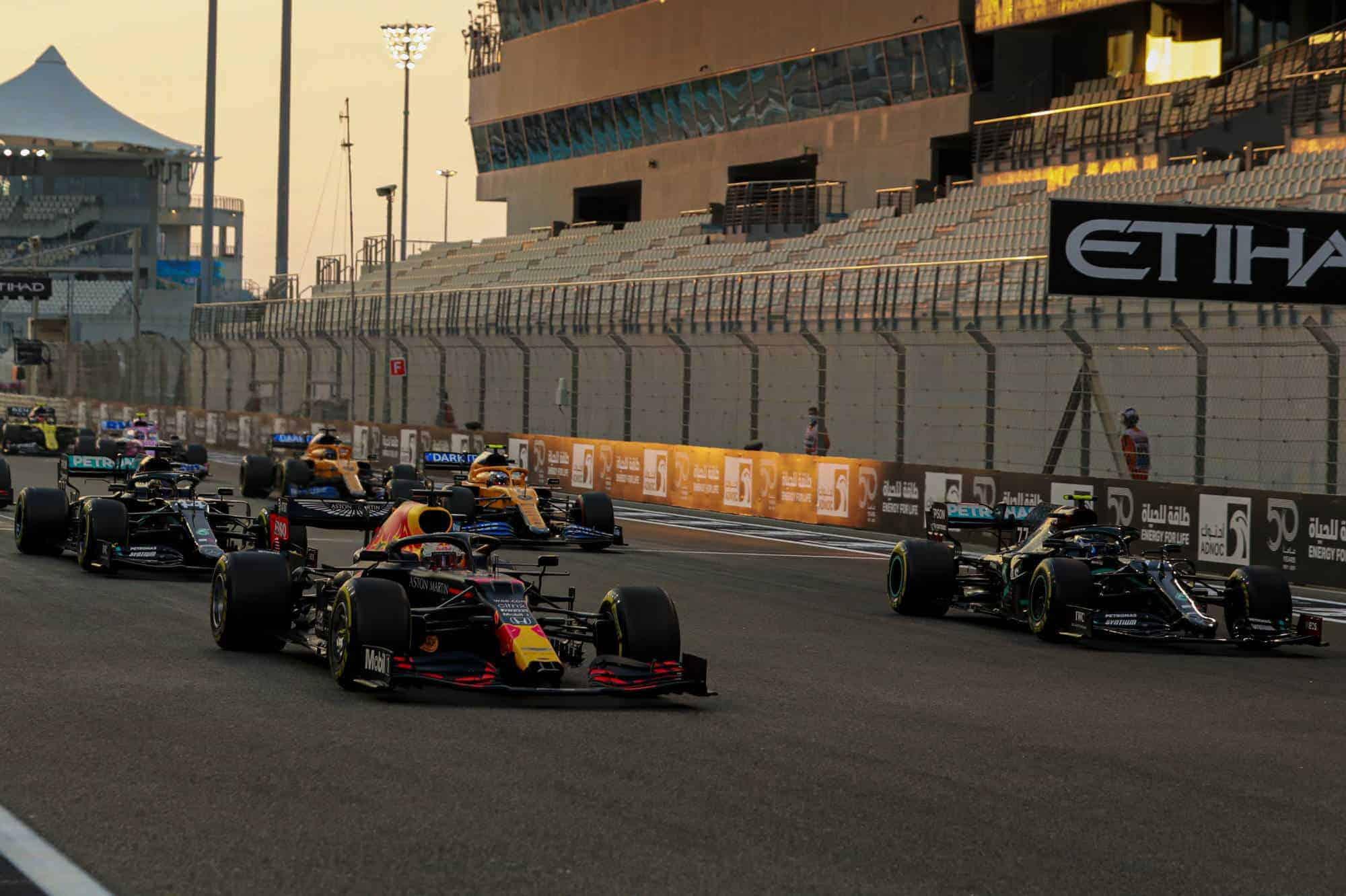 2020 Abu Dhabi GP start of the race Verstappen leads Bottas Hamilton Photo Daimler