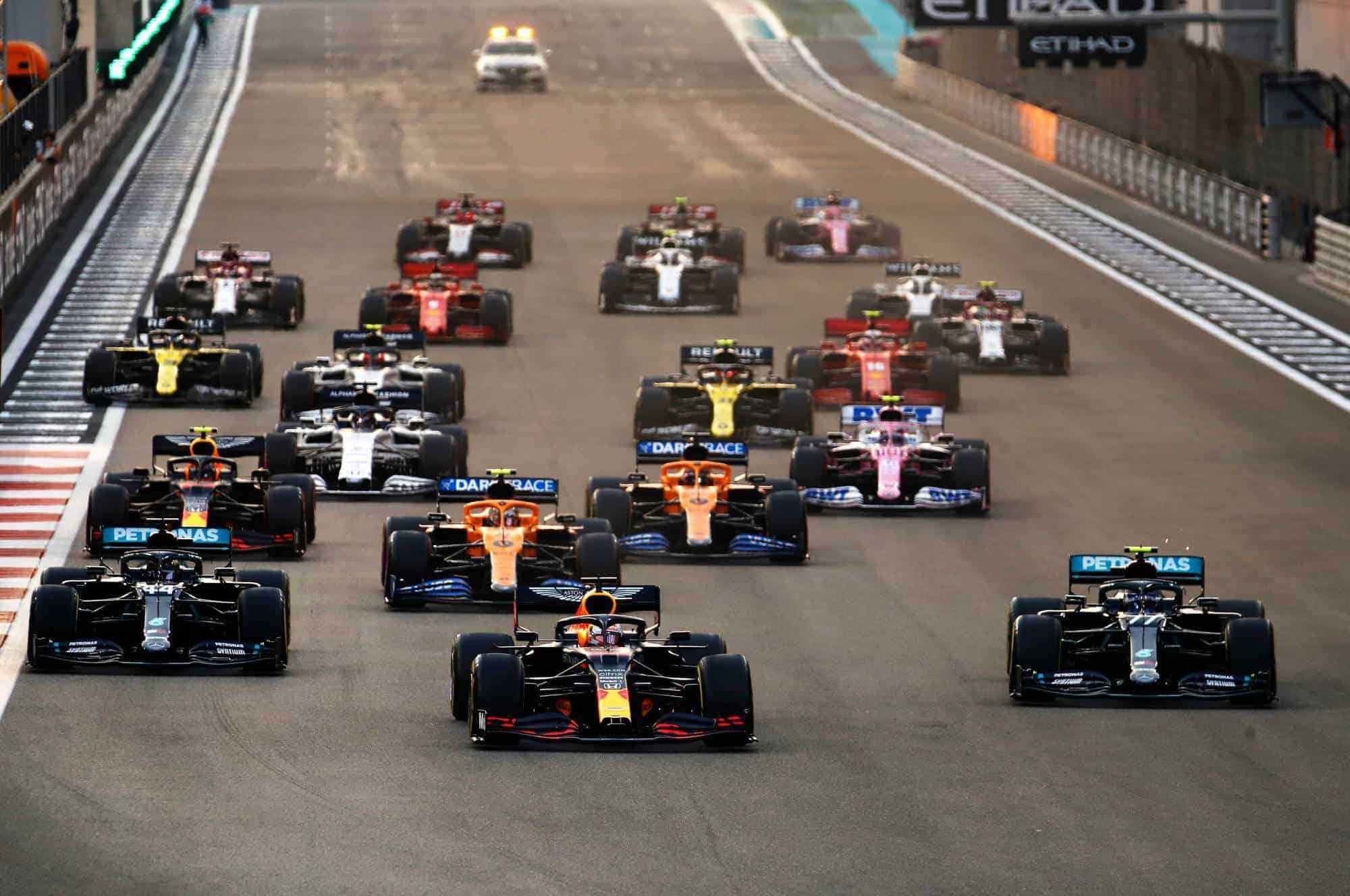 2020 Abu Dhabi GP start of the race Verstappen leads Bottas Hamilton Photo Red Bull
