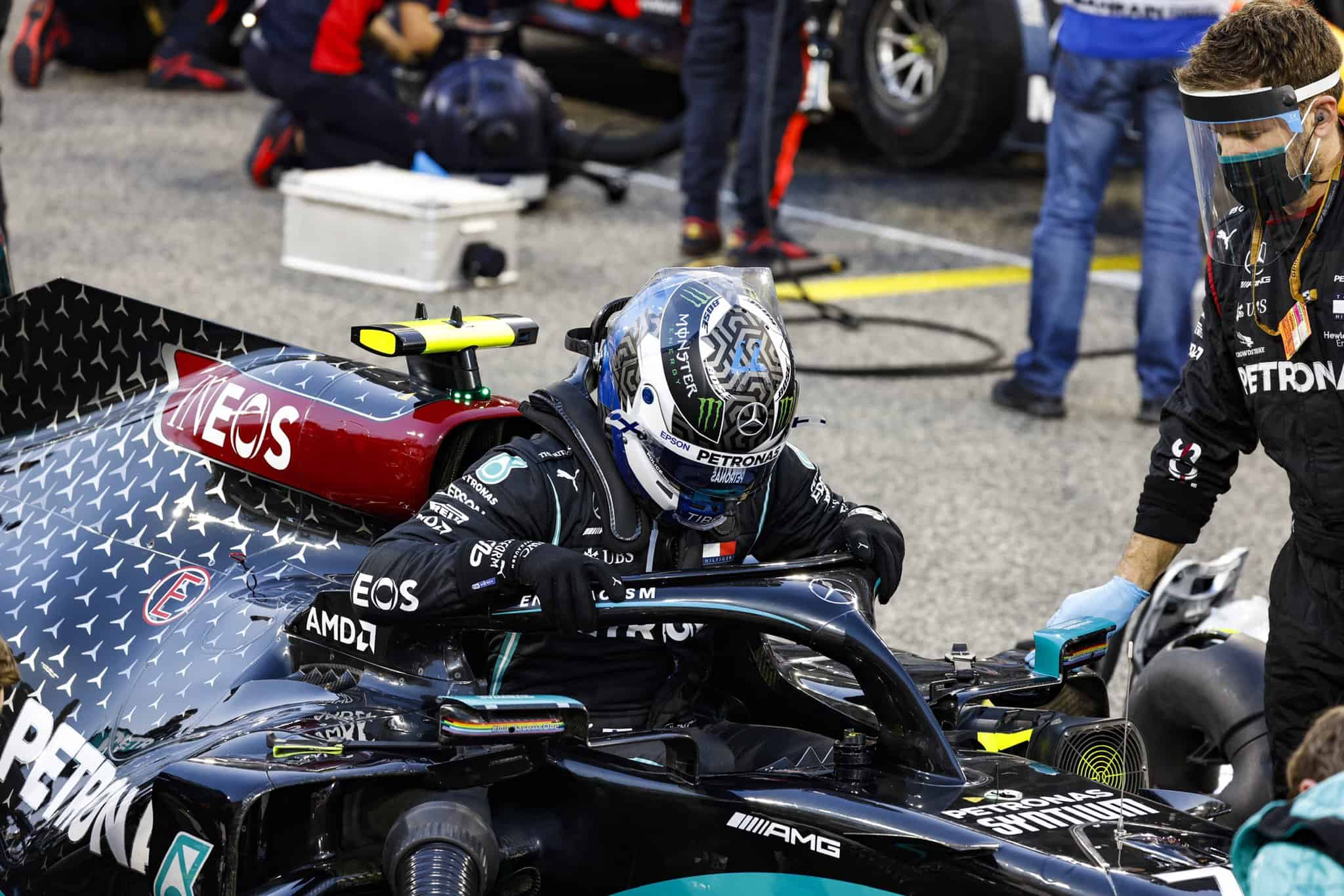 2020 Bahrain GP Bottas exits his car Photo Daimler Mercedes Twitter