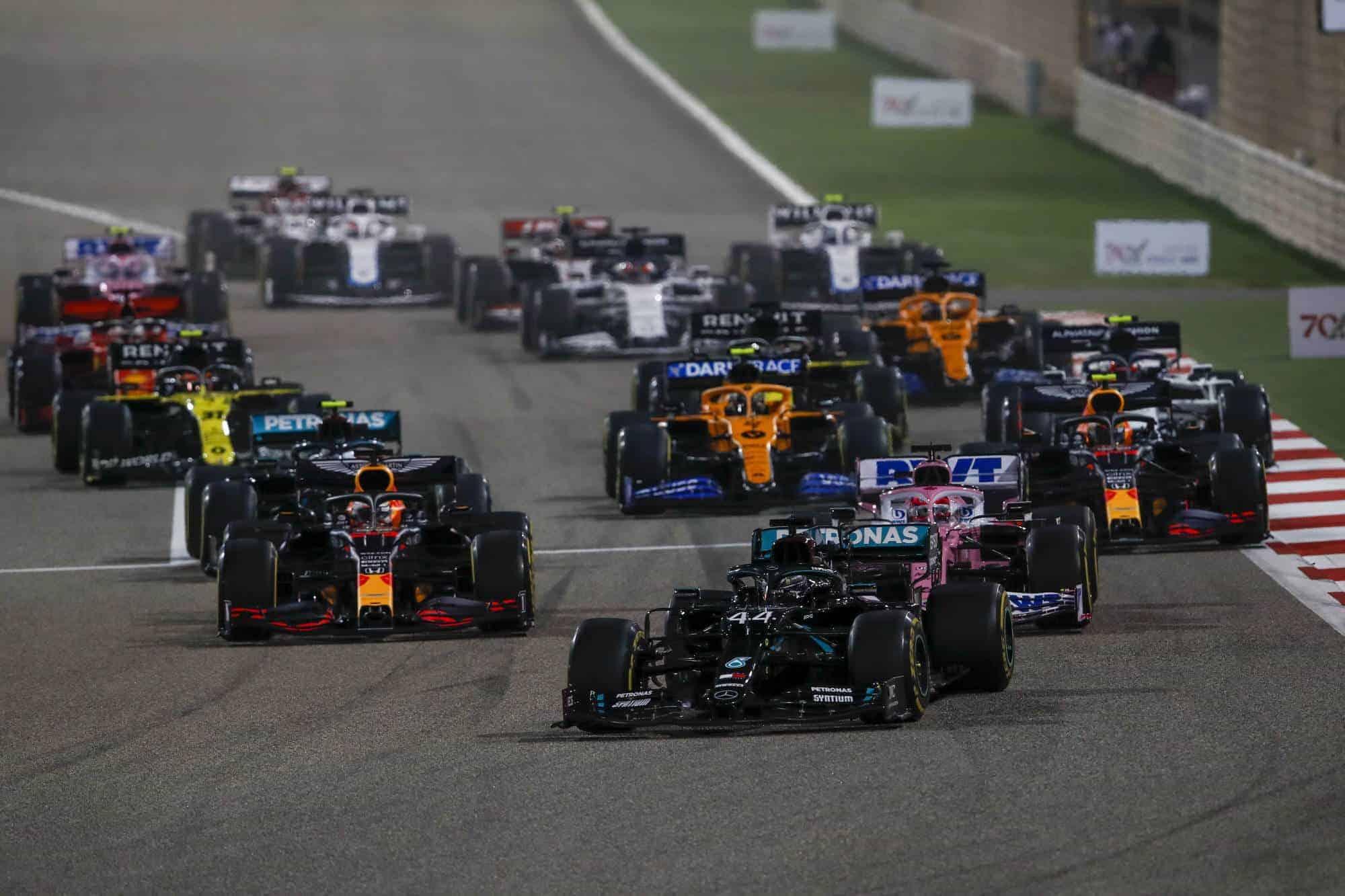 2020 Bahrain GP start first corner Photo Daimler
