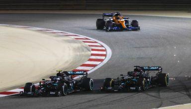 2020 Sakhir GP Bottas and Russell lead Sainz Photo Daimler