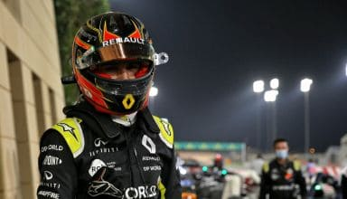 2020 Sakhir GP Ocon in parc ferme after finishing 2nd first podium Photo Renault