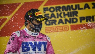 2020 Sakhir GP Perez Racing Point celebrates his 1st victory with champagne on the podium Photo Pirelli