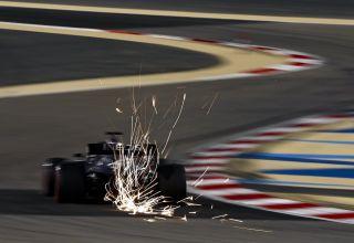 2020 Sakhir GP Russell Mercedes FP1 rear end sparks Photo Mercedes AMG Twitter