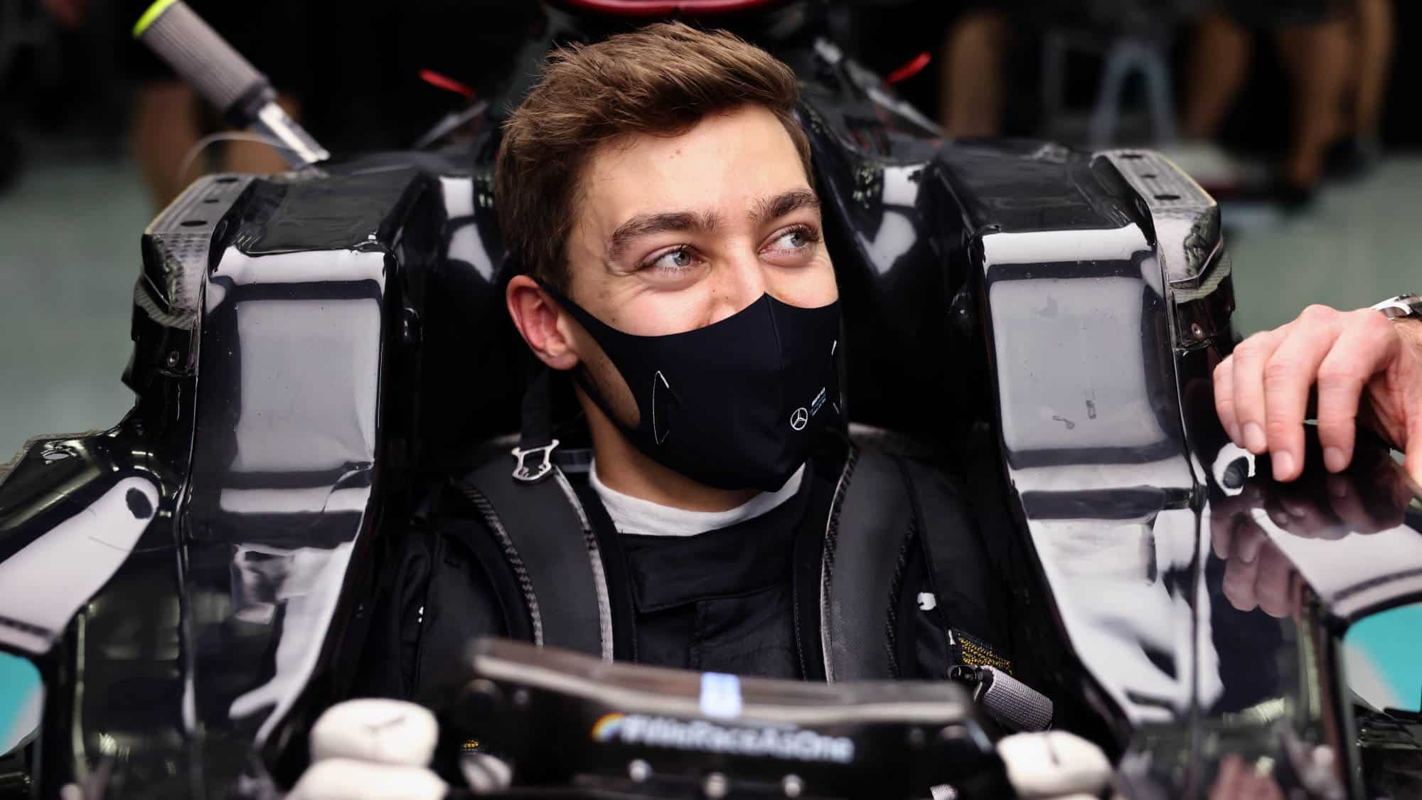 2020 Sakhir GP Russell first time in Mercedes F1 W11 Photo Daimler Mercedes Twitter