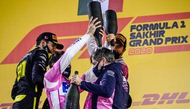 2020 Sakhir GP race winner Perez and Ocon and Stroll on the podium Photo Pirelli