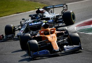 2020 Italian Grand Prix Sunday GP Norris McLaren leads Bottas Mercedes Photo McLaren
