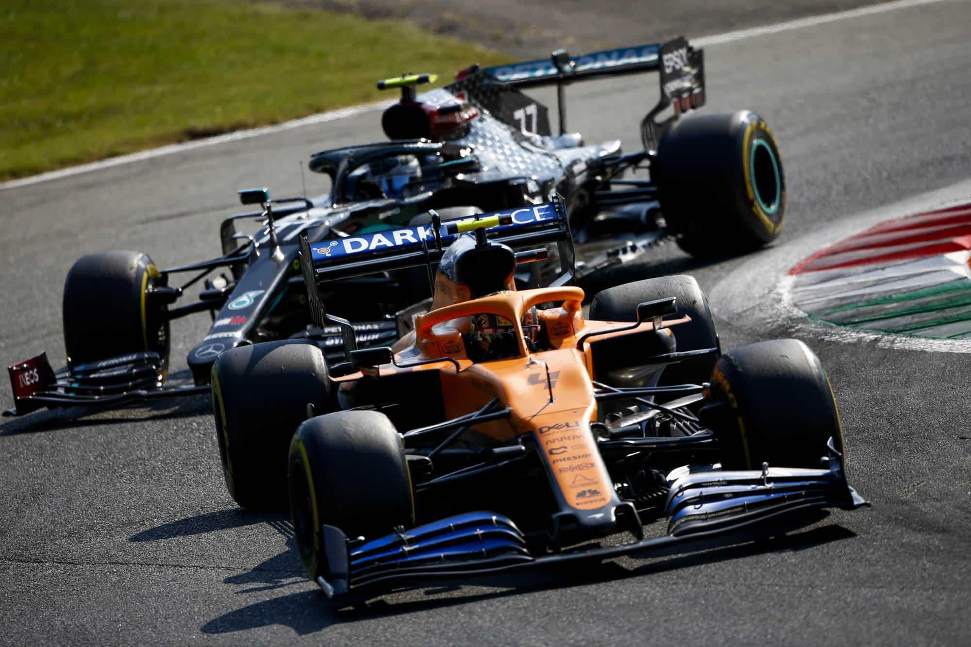 2020 Italian Grand Prix Sunday GP Norris McLaren leads Bottas Mercedes Photo McLaren