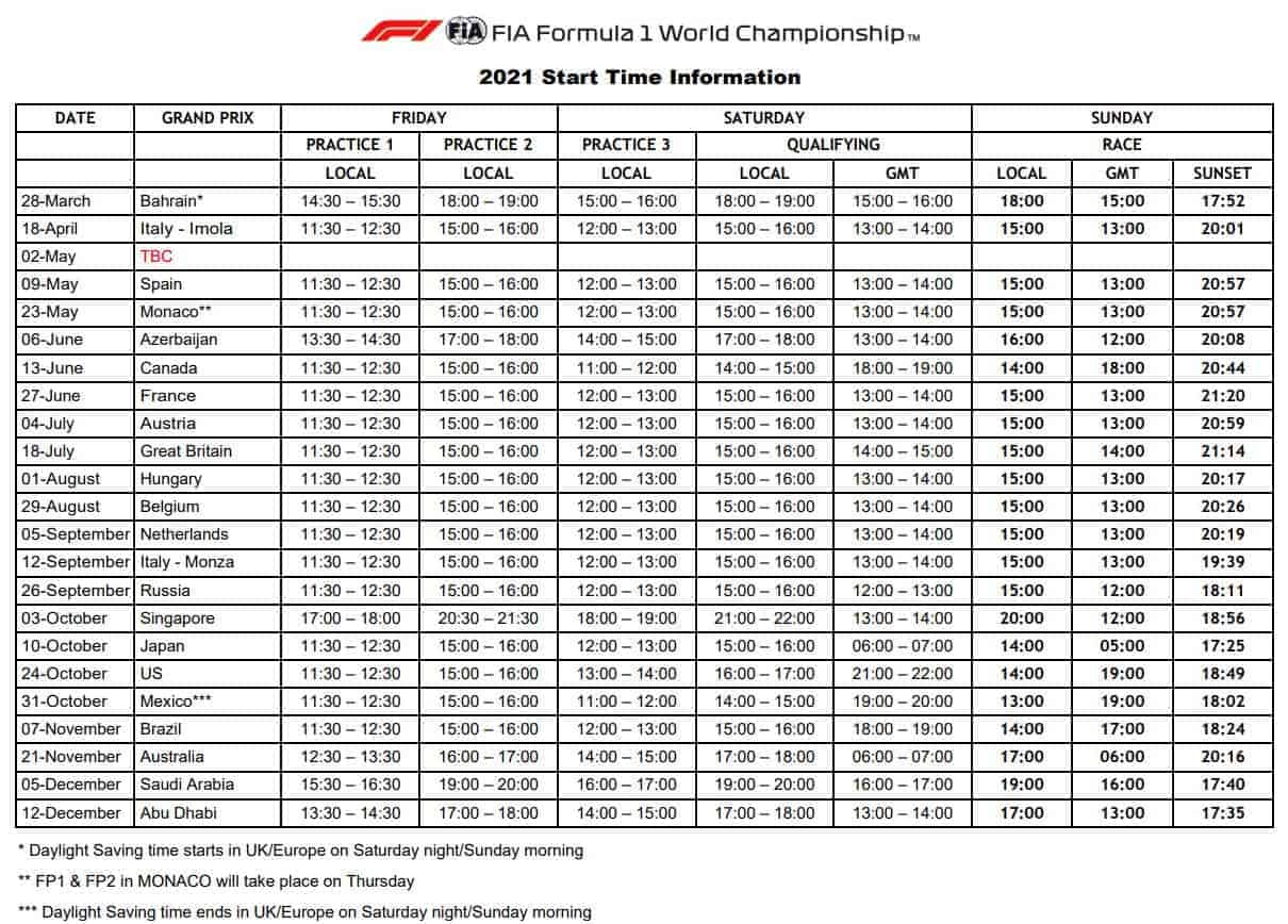 2021 F1 start time information Data FIA Edited by MAXF1net