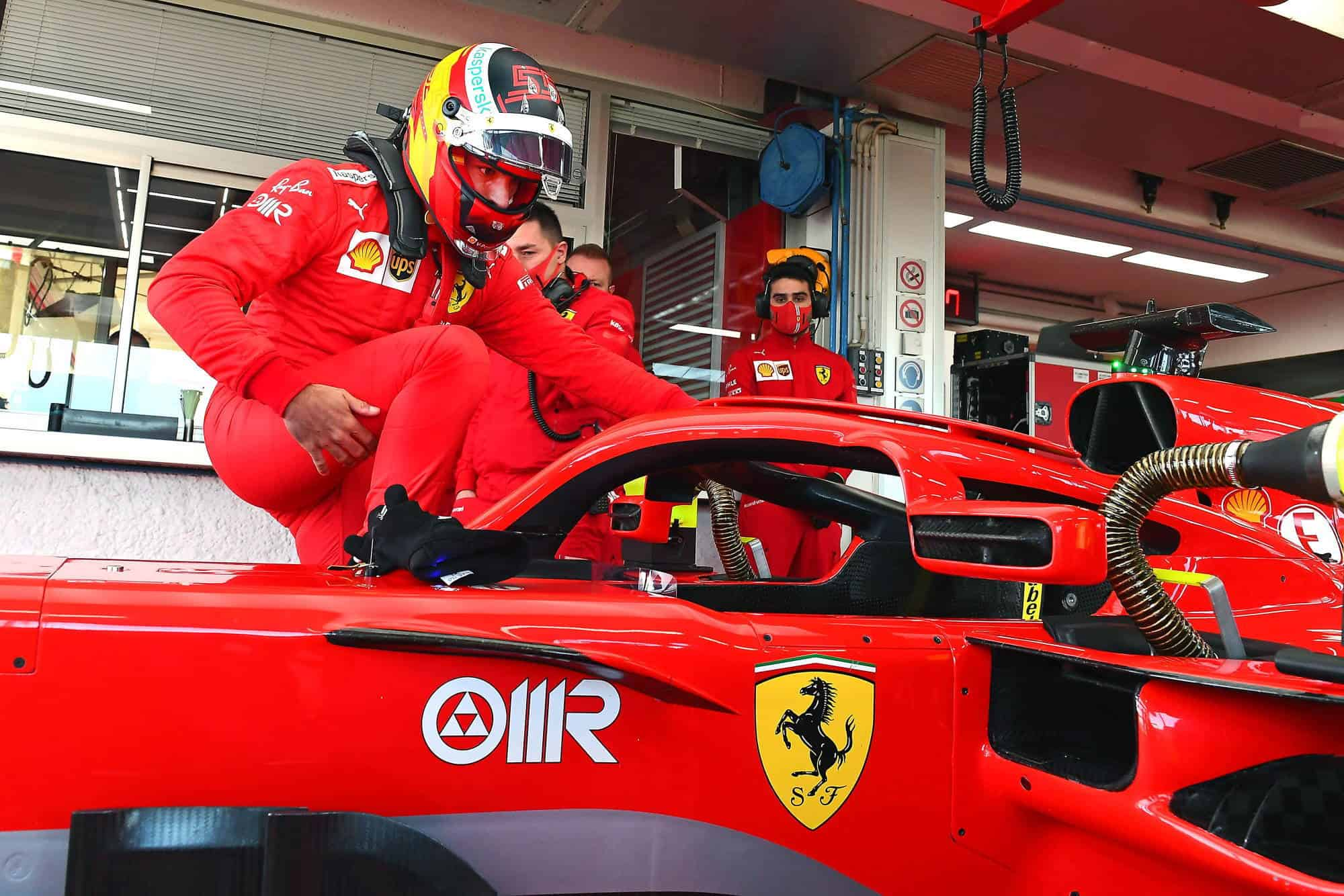 2021 Fiorano Carlos Sainz first Ferrari test enters the car Fiorano Ferrari SF71H 2018 on Wed 27 Jan 2021 Photo Ferrari