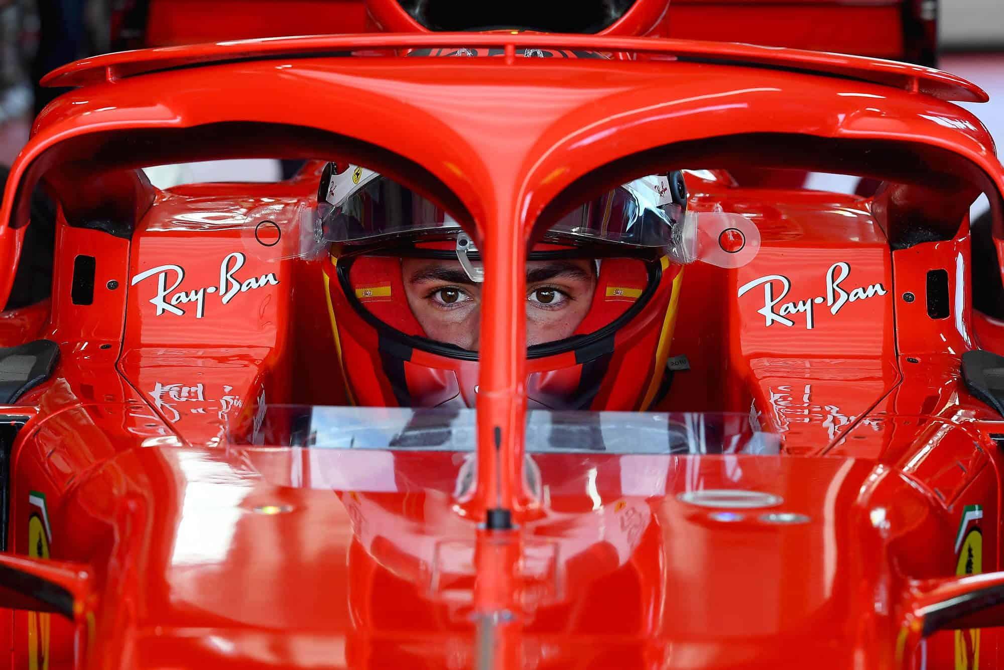2021 Fiorano Carlos Sainz first Ferrari test in the car with helmet on Fiorano Ferrari SF71H 2018 on Wed 27 Jan 2021 Photo Ferrari