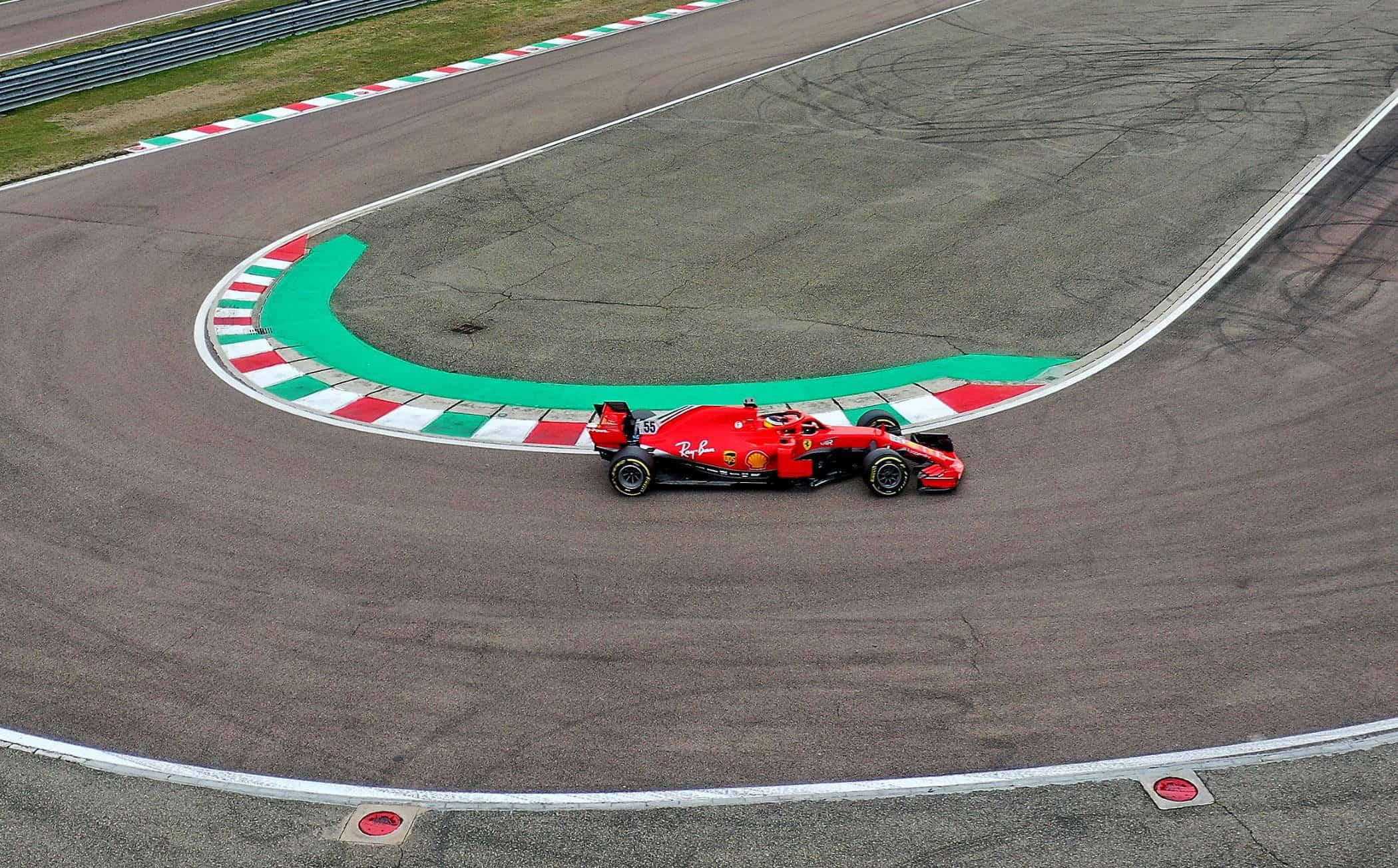 2021 Fiorano Carlos Sainz first Ferrari test on track hairpin Fiorano Ferrari SF71H 2018 on Wed 27 Jan 2021 Photo Ferrari