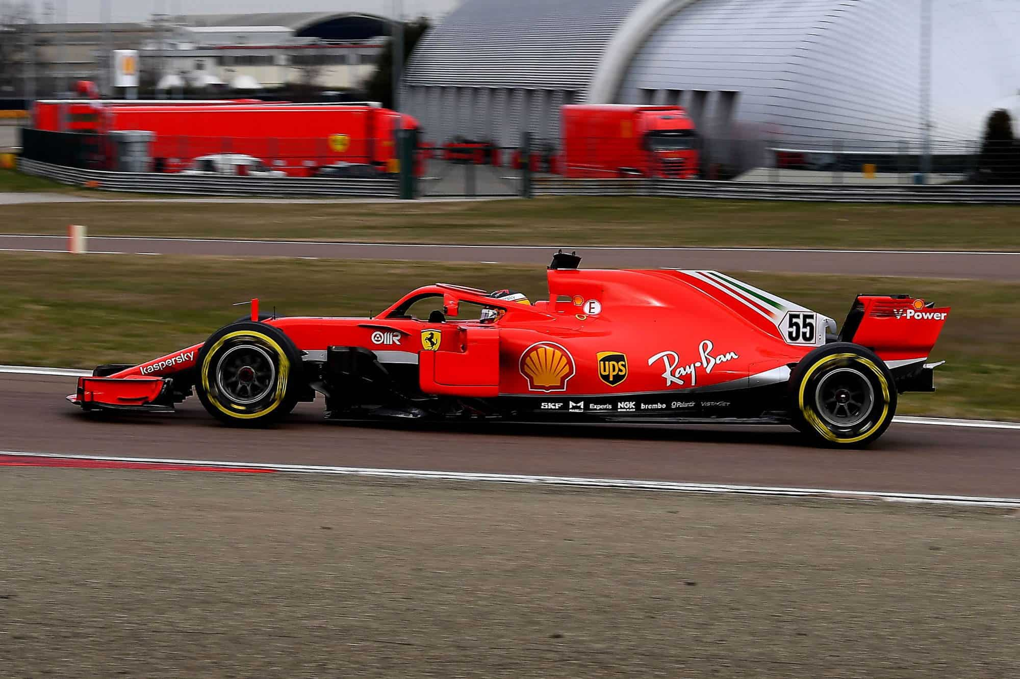 2021 Fiorano Carlos Sainz first Ferrari test on track side Fiorano Ferrari SF71H 2018 on Wed 27 Jan 2021 Photo Ferrari