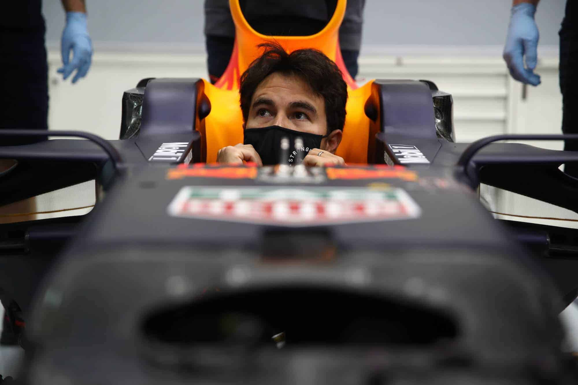 2021 Perez visits Red Bull factory in the car Photo Red Bull
