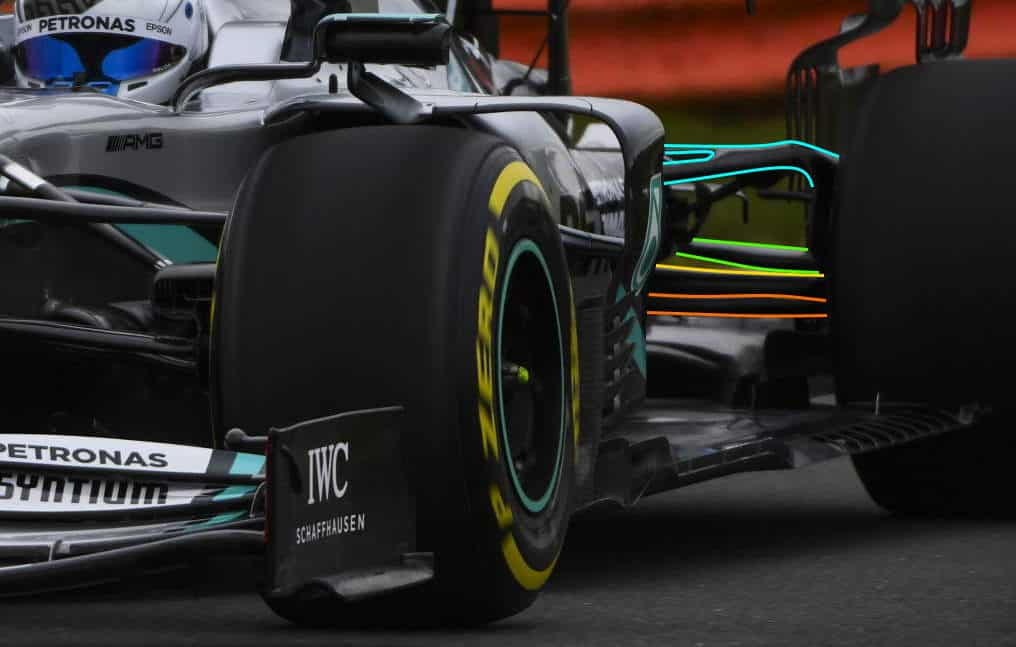 2020 F1 Mercedes F1 W11 first shakedown Bottas zoom front Silverstone rear suspension Photo Daimler Edited by MAXF1net