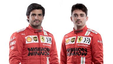 2021 Ferrari team launch February 26 Sainz and Leclerc Photo Ferrari
