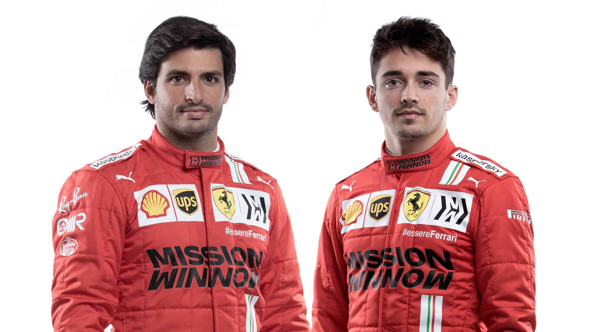 2021 Ferrari team launch February 26 Sainz and Leclerc Photo Ferrari