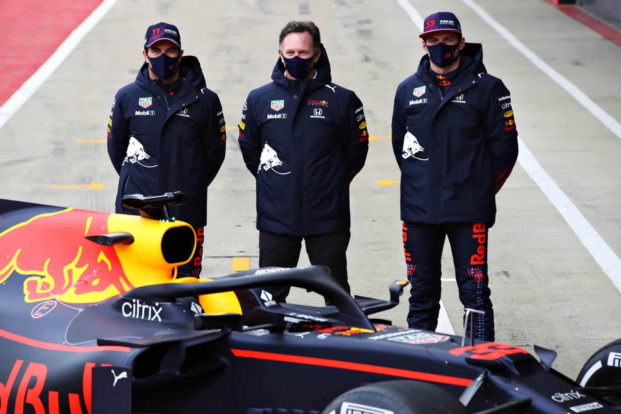 2021 Perez Verstappen Horner in front of RB15 2019 F1 car Photo Red Bull