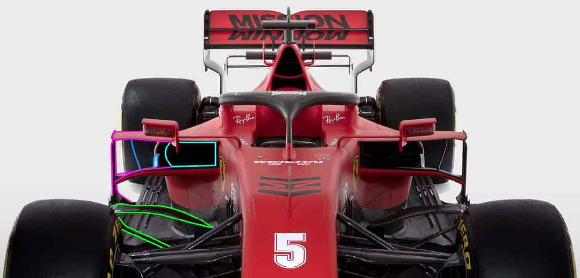 Ferrari F1 SF1000 2020 car studio photo front end sidepods bargeboards front Photo Ferrari Edited by MAXF1 net
