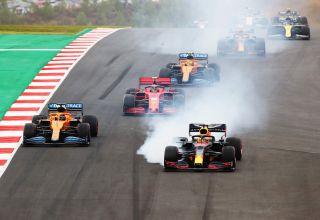 2020 Portugese GP Verstappen leads Sainz Leclerc Norris Albon Ricciardo Ocon Photo Red Bull