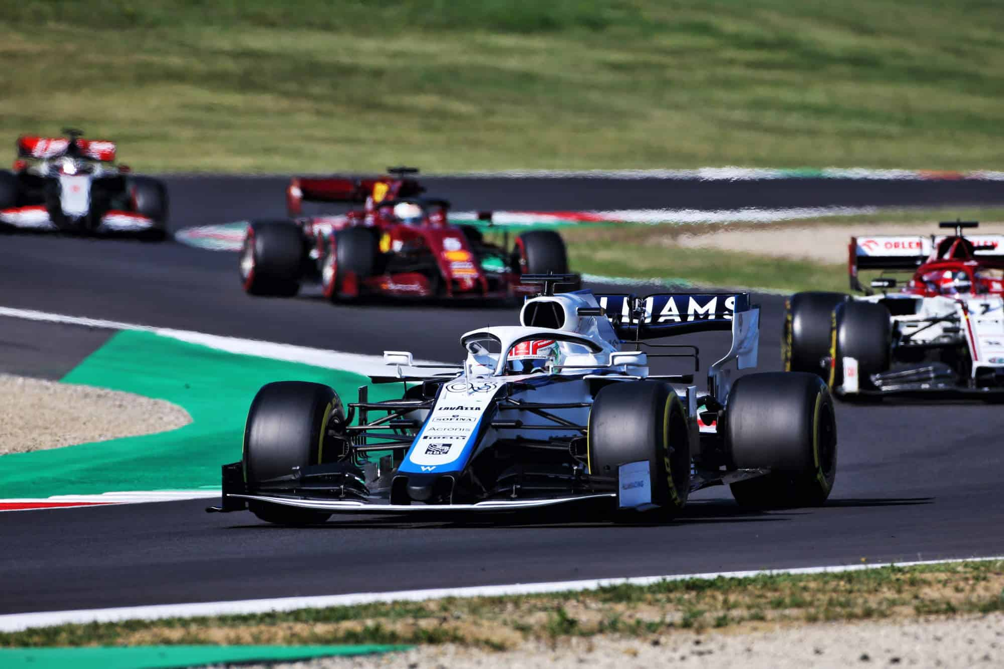 2020 Tuscany GP Russell leads Raikkonen Vettel Grosjean Photo Williams