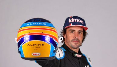 2021 Alonso Alpine studio photo racing suit helmet Photo Alpine