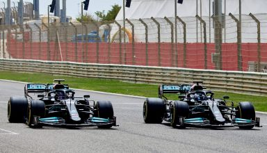 2021 Bahrain F1 Mercedes private test filming day Hamilton Bottas Photo Daimler