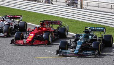 2021 Bahrain F1 testing F1 2021 cars side Alfa Romeo Ferrari Aston Martin Photo Pirelli