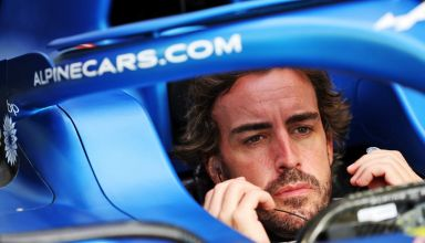 2021 Bahrain GP Alonso in the car Thursday without helmet and mask Photo Alpine