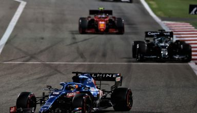 2021 Bahrain GP Alonso leads Stroll and Sainz in the race Photo Alpine