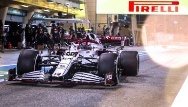 2021 Bahrain GP Giovinazzi Alfa Romeo C41 pitlane Pirelli C2 tyres hard Photo Pirelli