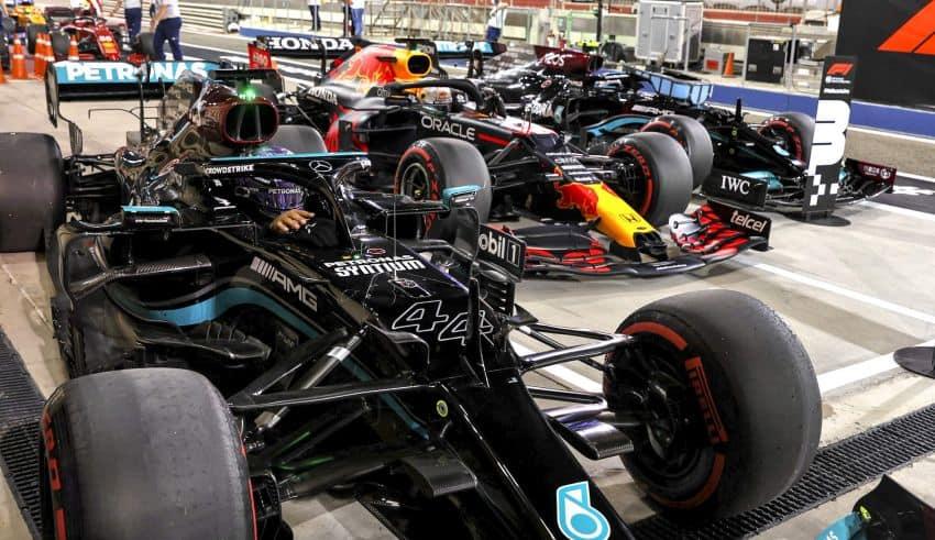 2021 Bahrain GP Hamilton Mercedes Verstappen Red Bull Bottas Mercedes soft C4 Pirelli after qualifying Photo Daimler