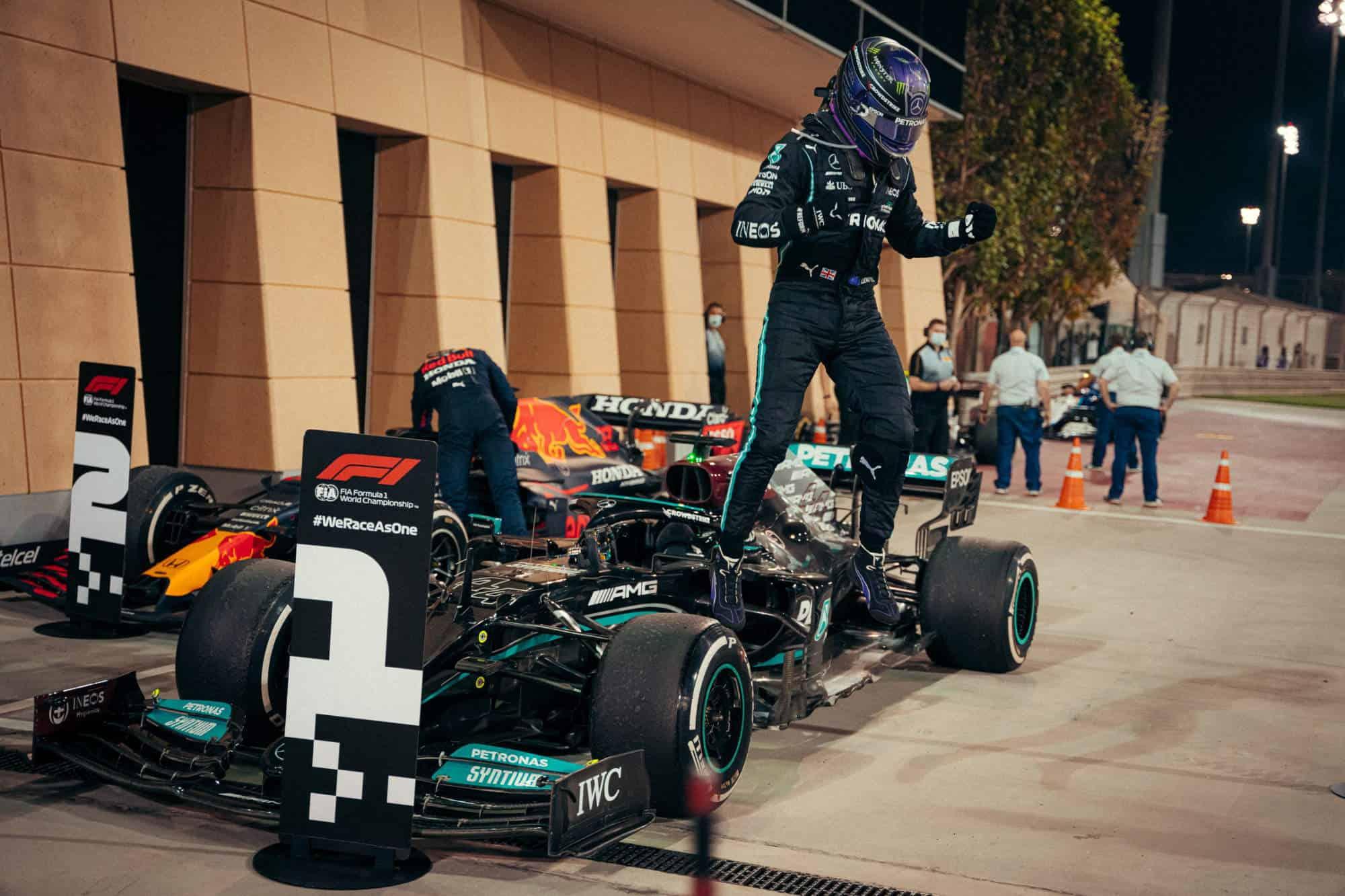 2021 Bahrain GP Hamilton Mercedes after the race out of the car jump Photo Daimler