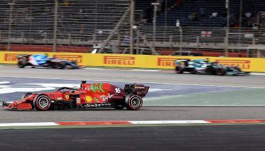 2021 Bahrain GP Leclerc Ferrari SF21 soft C4 Pirelli race Photo Ferrari