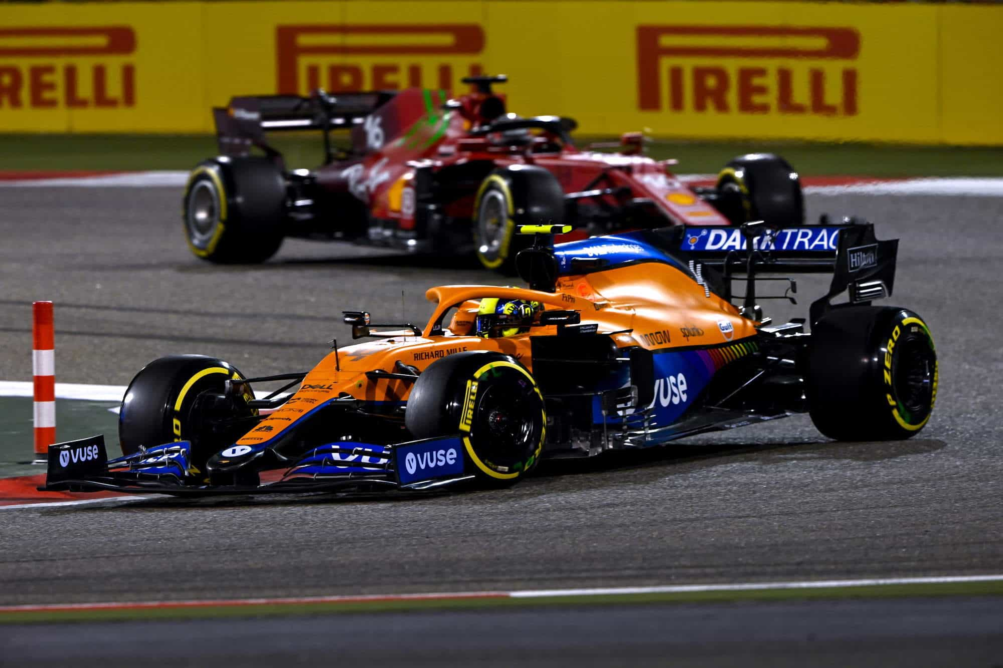 2021 Bahrain GP Norris leads Leclerc race on mediums C3 PIrelli Photo McLaren