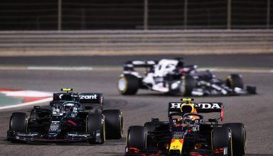 2021 Bahrain GP Perez leads Vettel Gasly Photo Red Bull