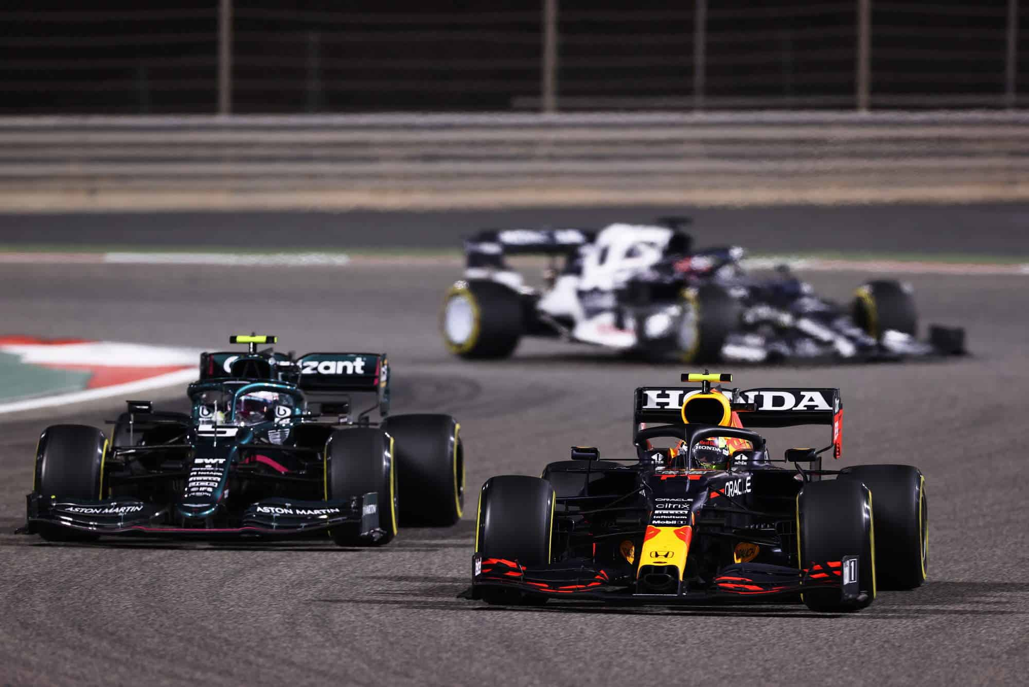2021 Bahrain GP Perez leads Vettel Gasly Photo Red Bull