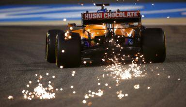 2021 Bahrain GP Ricciardo McLaren MCL35M rear end sparks diffuser Photo McLaren