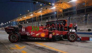 2021 Bahrain GP Sainz Ferrari SF21 soft C4 Pirelli qualifying pitlane Photo Ferrari