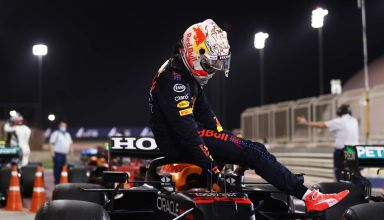 2021 Bahrain GP Verstappen Red Bull RB16B exits his car after qualifying Photo Red Bull Edited by MAXF1net
