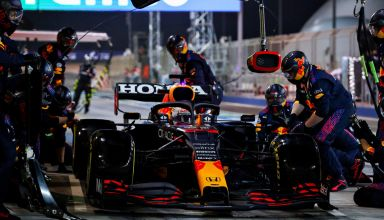 2021 Bahrain GP Verstappen in the pits for tyre change Photo Red Bull