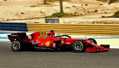 2021 Ferrari SF21 Charles Leclerc Bahrain F1 test medium C3 Pirelli side shot Photo Ferrari