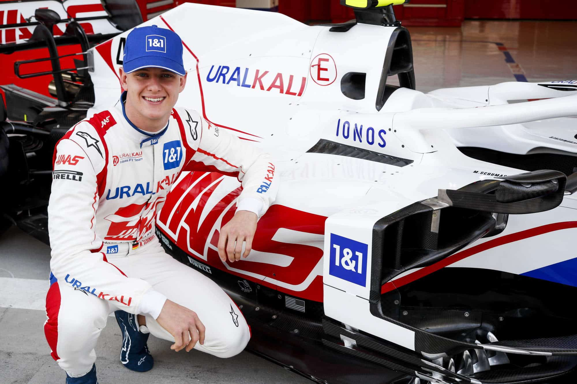2021 Haas VF-21 unveal sidepod close shot Mick Schumacher Bahrain testing Photo Haas