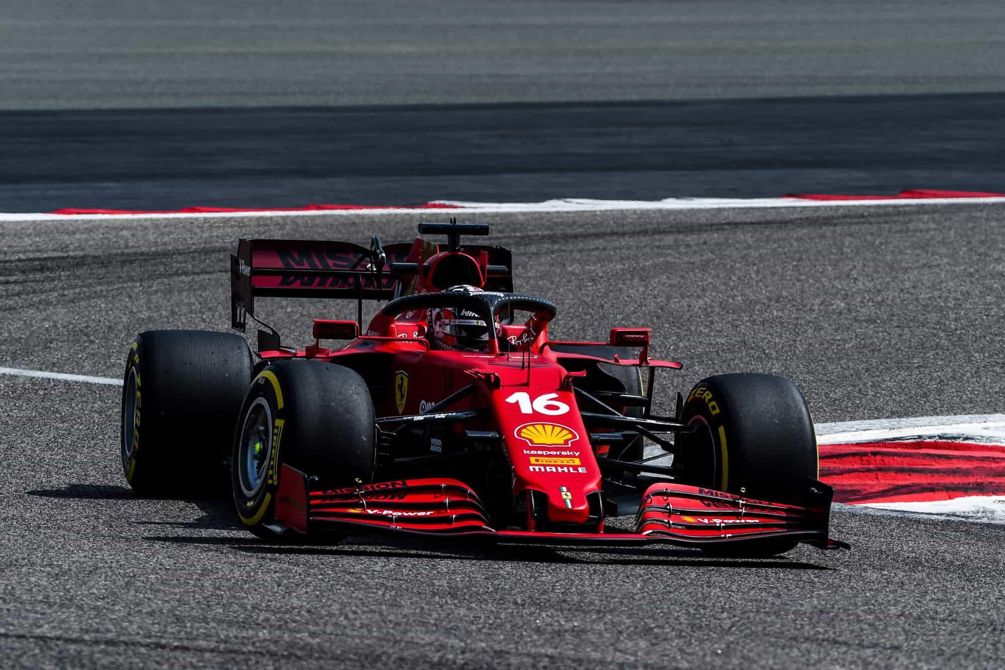 2021 Leclerc Ferrari SF21 Bahrain testing Photo Ferrari