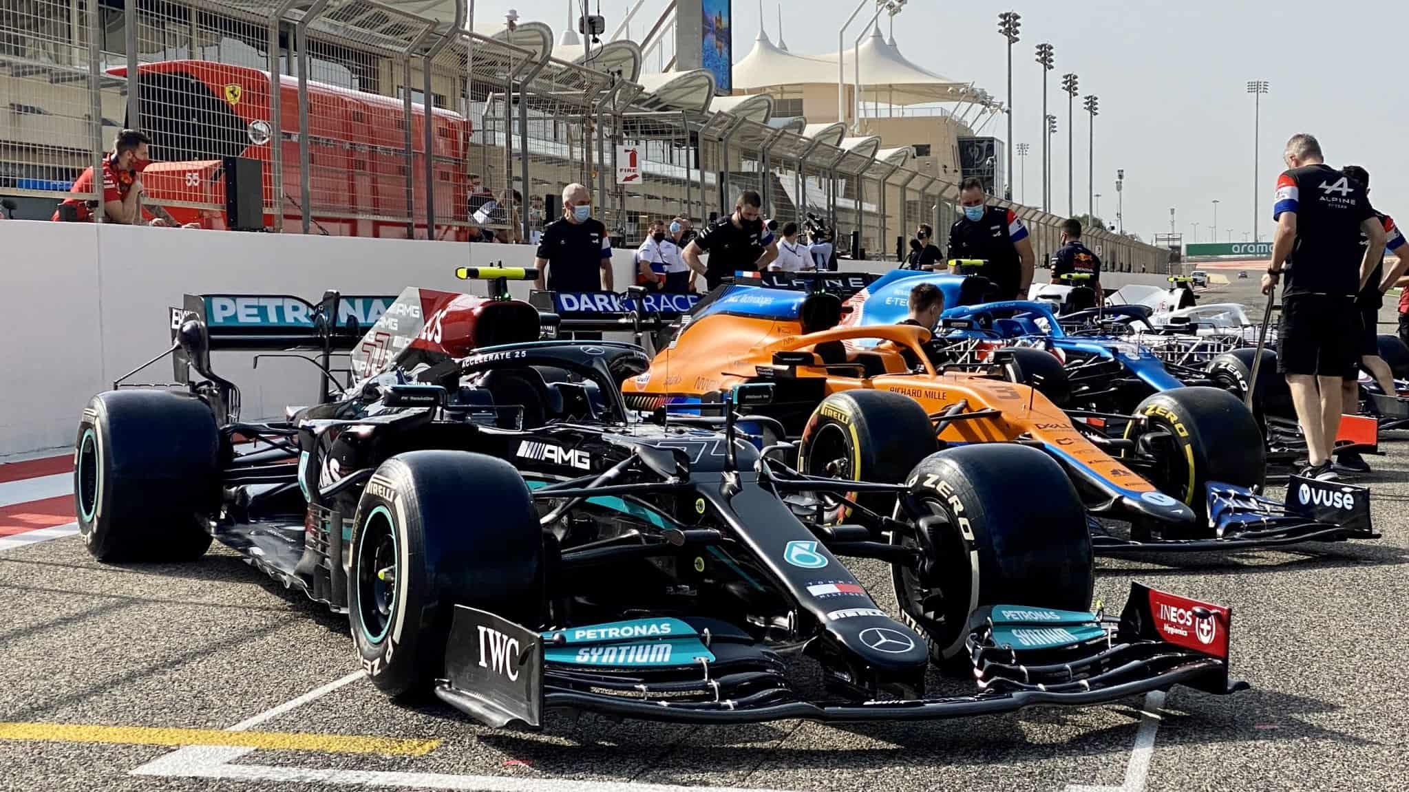 2021 Mercedes F1 W12 Bahrain testing pitlane Photo Mercedes AMG Petronas Twitter
